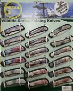 Nwt American Wildlife Series 18 New Folding Knives On Display Frost Cutlery Deer