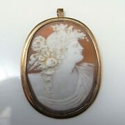 Victorian Shell Cameo Pendant Pin Brooch 9k Yellow Gold 19th Century Large Big