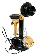 Antique Brass American Landline Telephone Vintage Rotary Dial Candlestick Phone