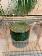 Ancient Old Hand Carved Wooden Lacquer Painted Round Beautiful Jewelry Box