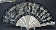 Most Elegant Antique French Mother Of Pearl And Lace Hand Fan Signed
