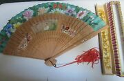 Antique Chinese Silk And Sandalwood Hand Fan Wang Sin Kee Shop In Shanghai 1940's