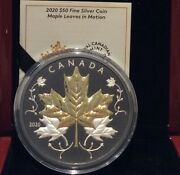 2020 Maple Leaves Motion 50 5oz Pure Silver Proof Coin Canada W/ Gold And Rhodium