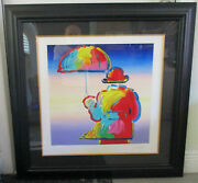 Peter Max Umbrella Man On Blend Lithograph 36 X 36 Framed Signed Numbered