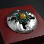 Georg Jensen Sterling Silver 21 Brooch With Amber / Green Agates