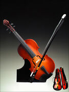Music Instrument Miniature 7 Wooden Violin Music Box With Case And Stand - V18