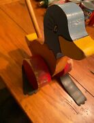 Vintage Push Along Wood Child Toy Wooden Duck Hand Painted