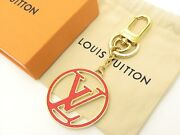 Louis Vuitton Authentic Metal Gold Red Porte Cles Lv Circle Key Chain Bag Charm