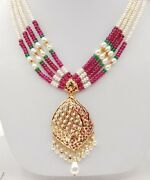 Single Necklace 22k 22ct Yellow Authentic Gold Real Ruby Emerald Pearls Studded