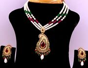 22ct 22k Bridal Yellow Gold Eid Special Gift Pearls Ruby Emerald Set Necklace
