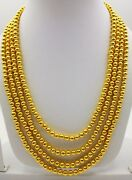 22k Gold Ball Chain 4 Line Beads String Mala Chain Vintage Necklace Jewelry