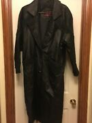 Leather Zone Womans Leather Trench Coat Size Medium With Green Accents