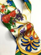 Gianni Versace Vintage And03990s Flower Pop Art Tie Baroque Plant Leaves Gold Italy
