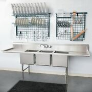 106 3-compartment Stainless Steel Commercial Pot And Pan Sink And 2 Drainboards