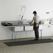121 3-compartment Stainless Steel Commercial Pot And Pan Sink With 2 Drainboards
