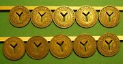 Nyc New York City Transit Authority Subway Tokens Small Y Cut Out 10 Pack