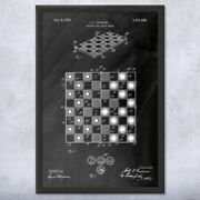 Framed Checkers Board Wall Art Print Chess Player Gift Gaming Decor Gamer Gifts