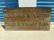 Merchants And Planters Antique Bronze Brass Large Building Sign Early 1900's Bank