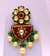 22 K Yellow Gold Multi Color Stone Earring Very Attractive Stylish Women Jewelry