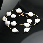 Very Charming 18 Necklace Chain 22c 22k Yellow Gold And White Natural Coin Pearls