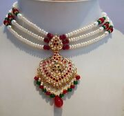 20k 20ct Yellow Gold Real Ruby Emerald Pearl Necklace Motherand039s Day Special Gift