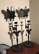 19th Century Chinese Iron Butterfly 蝴蝶 Hú Dié Brothel Oil Candle Stick Lamps