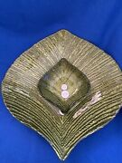Princess House Large Leaf Platter And Small Bowl Green Glass Chip Dip Set 1488