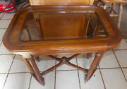Solid Oak Ethan Allen Glass Top End Table / Side Table T124