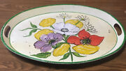 """Vintage Metal Serving Tray Hand Painted Flowered Design Oval Handled 18"""" X 13"""""""