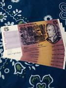 R-213 1991 Fraser/cole 5dollars Uncirculated Run Of 6 Paper Note