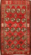 Antique Geometric Balouch Hand-knotted Area Rug All-over Red Oriental Carpet 4x7
