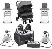 Baby Double Stroller With 2 High Chairs 2 Swings Twins Nursery Center Combo Set