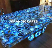 48x24 Marble Side Dining Table Top Agate Inlaid Led Table Christmas Decor