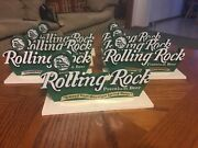 Six Vintage Rolling Rock Premium Beer Plastic Stand Up Bar Sign Latrobe Brewery