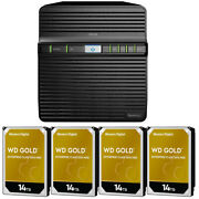 Synology Ds420j Diskstation With 56tb 4 X 14tb Western Digital Gold Nas Drives