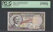 Jordan 5 Dinars Nd1975-92 P19bcts Color Trial Uncirculated