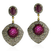 Pave Diamond Floral Carved Ruby Dangle Earrings 18kt Gold 925 Silver Jewelry