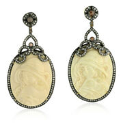 Lady Carved Dangle Earrings 18k Gold Silver Pave Diamond Handmade Jewelry