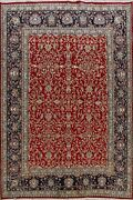Vintage Floral Kirman Traditional Hand-knotted Area Rug Red Oriental Carpet 7x10
