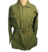 Vintage Orvis Womenand039s Green Linen Shirt Jacket W/ Belt And Wooden Buttons - Size L