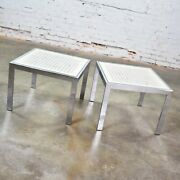 Pr Chrome And White Cane Square Side Tables Glass Top Mid Century Modern To Modern
