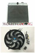 3 Row For Chevy Bel Air V8 W/cooler 1955 1956 1957 Aluminum Radiator And 14 Fan