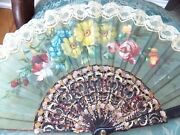 Antique Hand Painted Ladies Fan Celluloid And Lace Multi Colored Flowers Etched