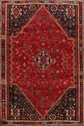 Vintage Abadeh Geometric Nomad Area Rug 6x9 Hand-knotted Tribal Oriental Carpet