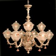 New Capodimonte Chandelier W/9 Lights And 9 Close Globes Brown/gold Made In Italy
