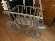 Vintage Primitive Wooden And Metal Goat Wagon Late 1800and039s - Early 1900and039s