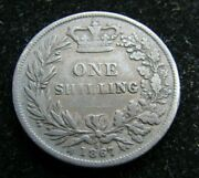 1867 Great Britain 1 Schilling Coin Reeded Edge Circulated