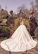 Brand New Mori Lee Rooney Cathedral Train Silk Pleated Wrap Ball Gown Style 2098