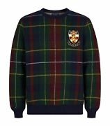 Polo By Menand039s M Plaid Crest Crew Neck Sweater Navy New Msrp 398