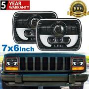 Pair 7x6 Inch Led Headlight Highandlow Beam For Jeep Cherokee Xj Toyota Chevy Ford